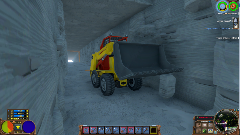 A long grey stone tunnel with flat square ceiling and walls and a bright white light at the end. In the foreground is a small yellow and red digger, its grey scoop raised up.