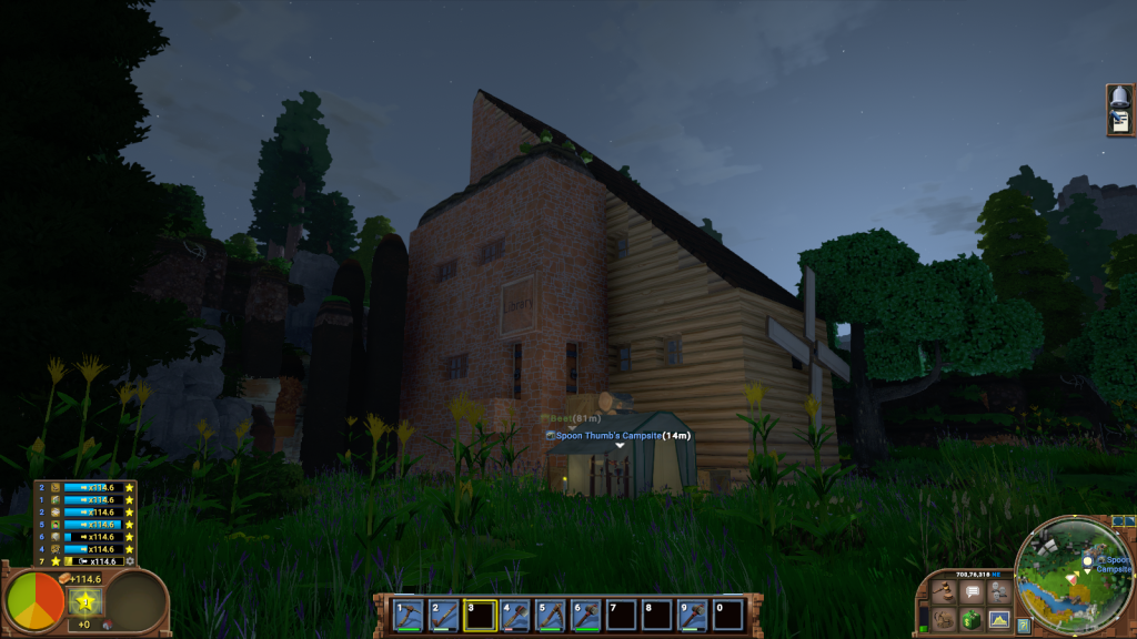 A half-brick, half-timber library with a sloping roof and windmill, set in a wild meadow.