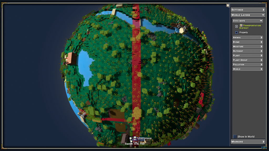 "A large spherical planetoid as viewed from space, covered in dark green forest. A strip of red highlighting runs vertically across the planetoid with a grey label marking it as ""Transportation District""."
